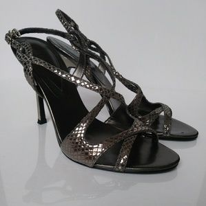 GUESS Metallic Strappy Heels Size 7